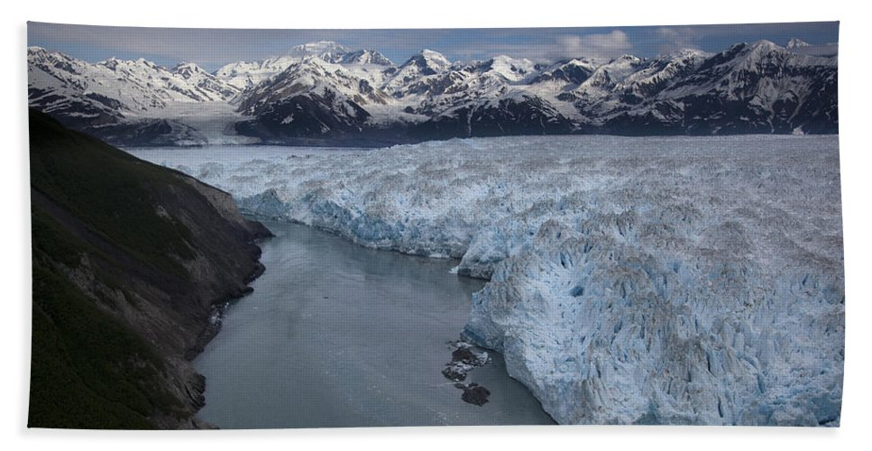 Mp Hand Towel featuring the photograph Hubbard Glacier Encroaching On Gilbert by Matthias Breiter