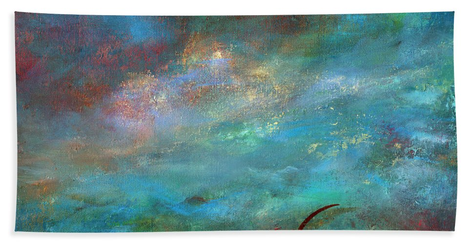 Abstract Bath Sheet featuring the painting Inspiration by Sharon Abbott-Furze