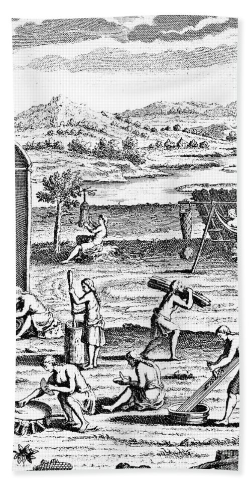 1664 Hand Towel featuring the photograph Iroquois Village, 1664 by Granger
