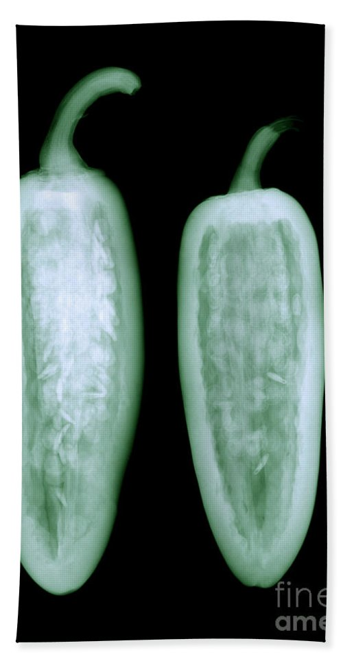 X-ray Hand Towel featuring the photograph Jalapeno by Ted Kinsman