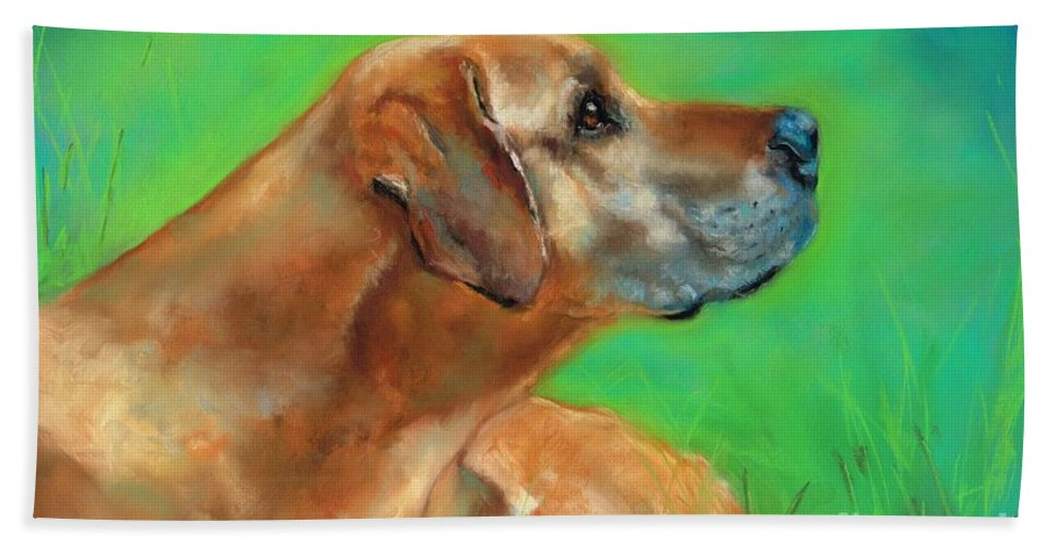 Dog Art Bath Sheet featuring the pastel Jasper by Frances Marino