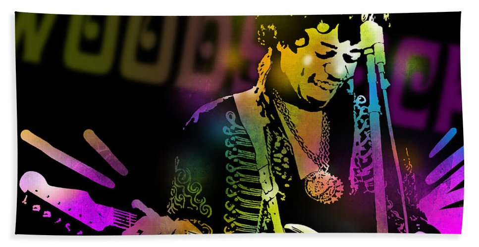 Blues Bath Sheet featuring the painting Jimi Hendrix by Paul Sachtleben