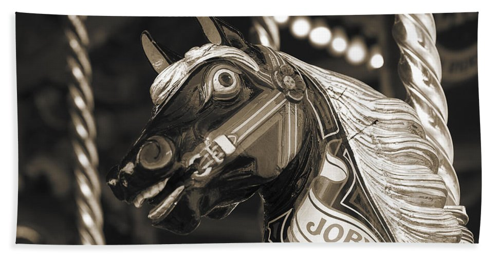 Carousel Bath Sheet featuring the photograph Joby The Carousel Horse by Beth Riser