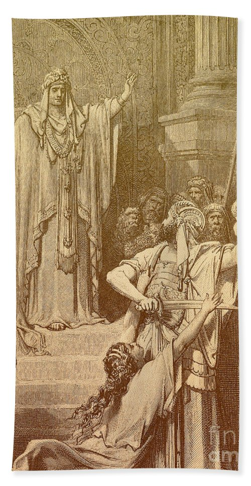 Artwork Hand Towel featuring the photograph Judgment Of Solomon by Photo Researchers, Inc.