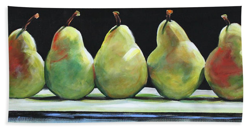 Pears Bath Sheet featuring the painting Kitchen Pears by Toni Grote