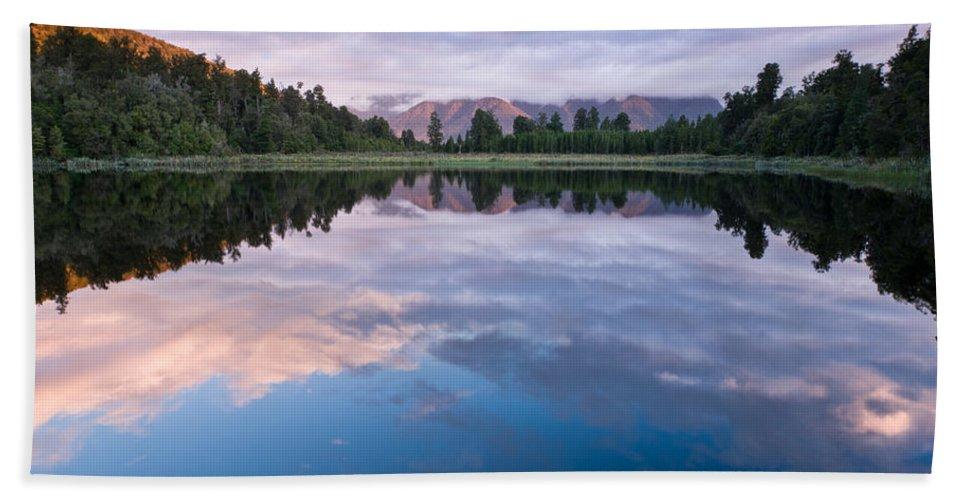 Background Bath Sheet featuring the photograph Lake Matheson by U Schade