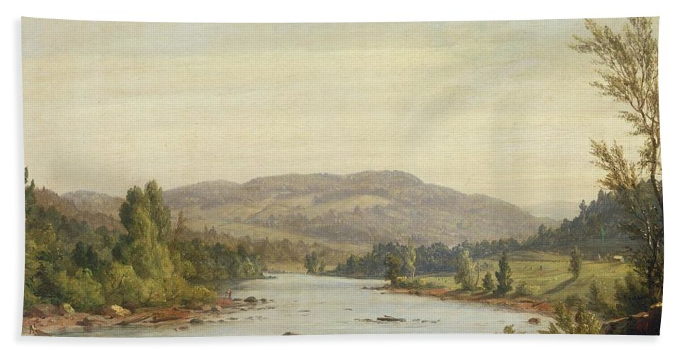 Landscape With River (scene In Northern New York) Bath Sheet featuring the painting Landscape With River by Sanford Robinson Gifford
