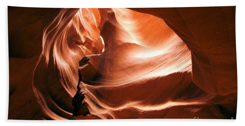 Antelope Canyon Bath Sheet featuring the photograph Light From Above by Adam Jewell