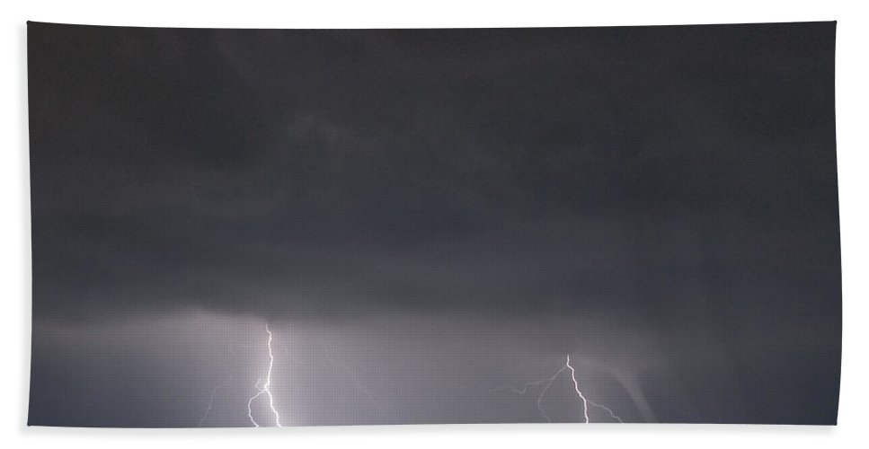 Lightning Bath Sheet featuring the photograph Lightning And Waterspout by Stephen Whalen