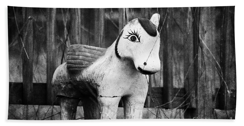 Black & White Bath Sheet featuring the photograph Lost Pony by Scott Pellegrin