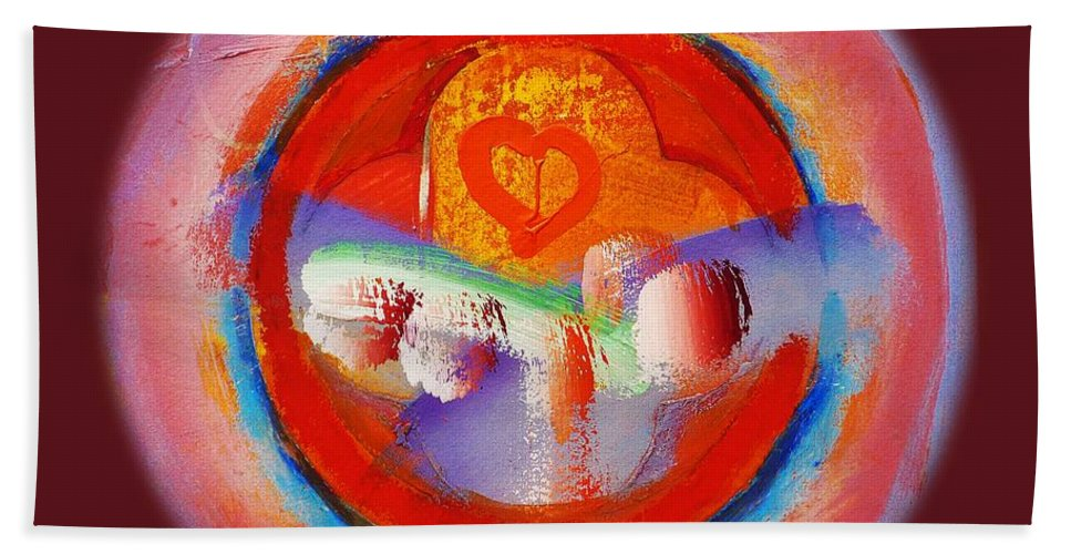 New Bath Towel featuring the painting Love Heart by Charles Stuart