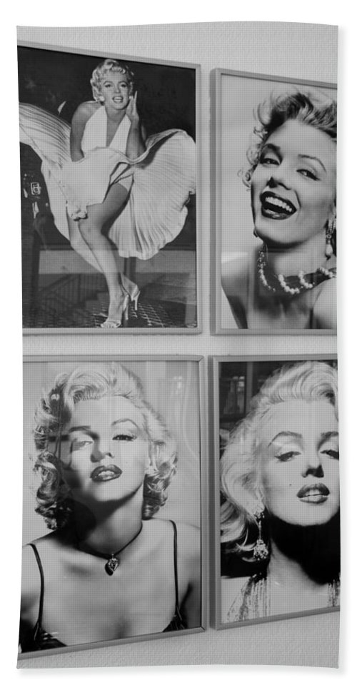 Marilyn Monroe Bath Sheet featuring the photograph M M by Rob Hans