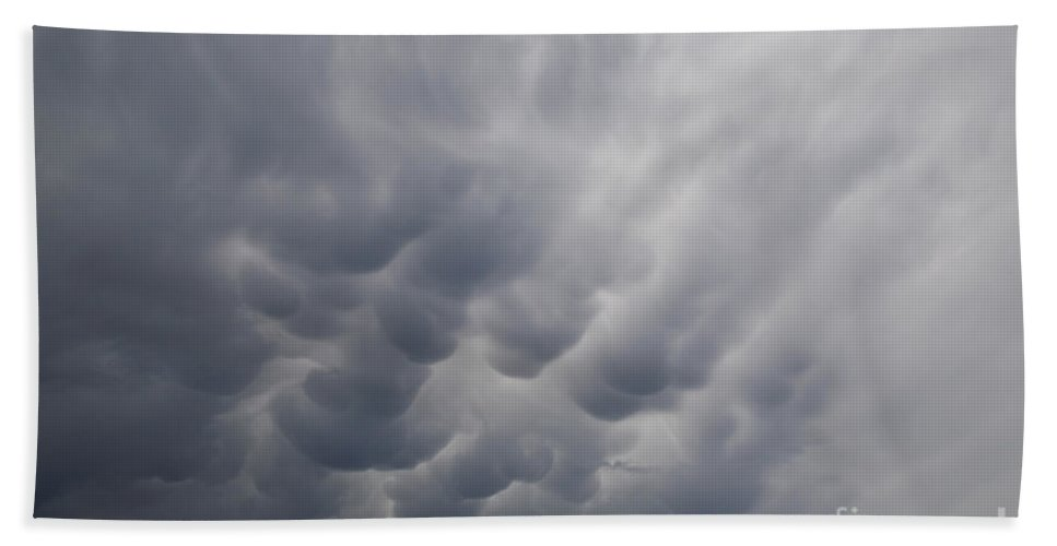 Weather Hand Towel featuring the photograph Mammatiform Clouds by Ted Kinsman