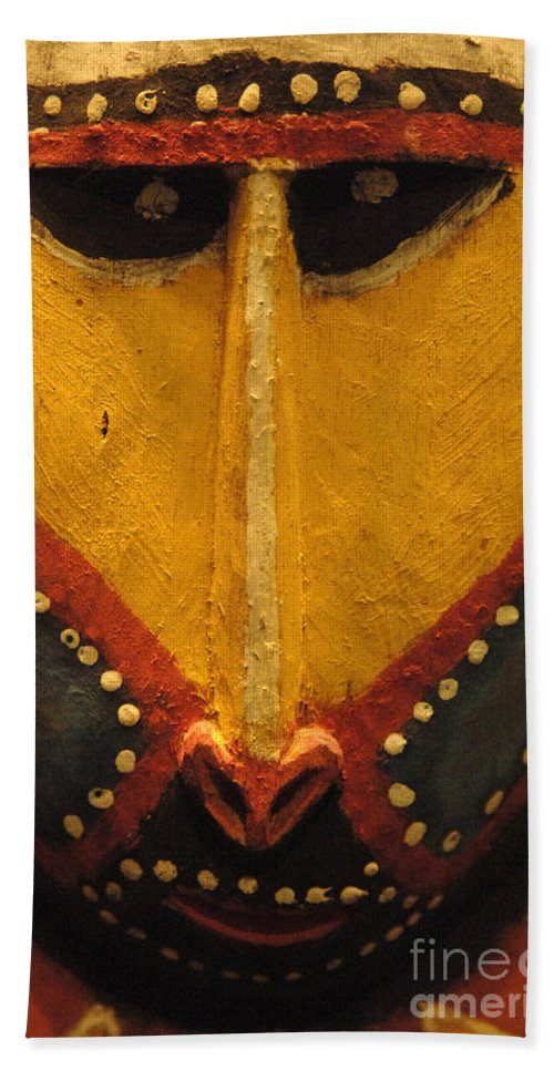 Mask Hand Towel featuring the photograph Maori Mask New Zealand by Bob Christopher