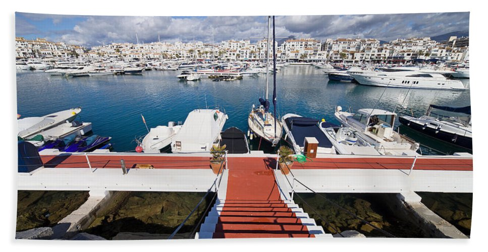 Marbella Hand Towel featuring the photograph Marina In Puerto Banus by Artur Bogacki