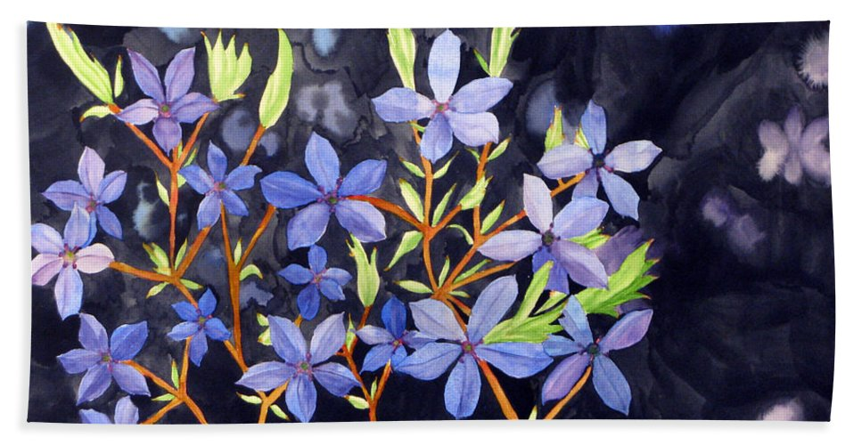 Blue Flower Bath Sheet featuring the painting Midnight Blue by Debi Singer