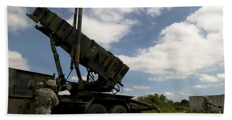 Kadena Air Base Hand Towel featuring the photograph Mim-104 Patriot Missile Launcher by Stocktrek Images