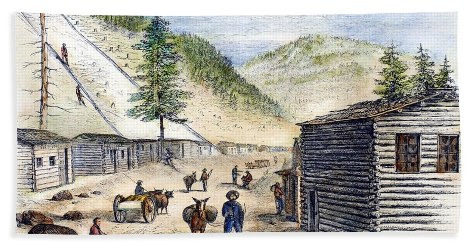 1860 Hand Towel featuring the photograph Mining Camp, 1860 by Granger