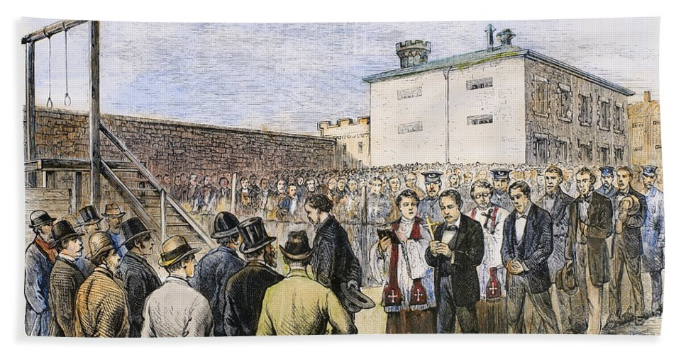 1877 Hand Towel featuring the photograph Molly Maguires Executions by Granger