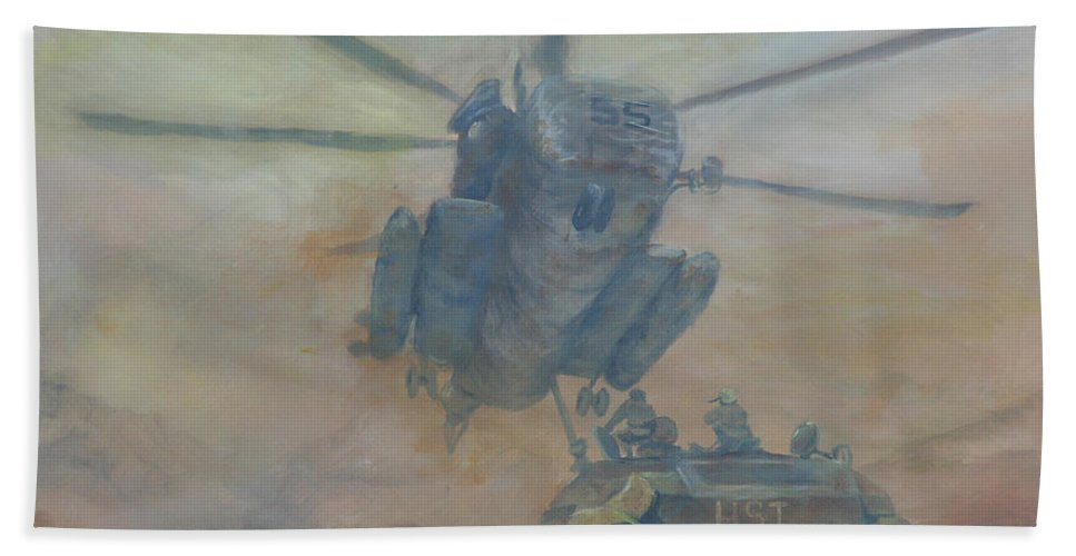 Military Hand Towel featuring the painting Mom I'm Hungry by Gail Daley