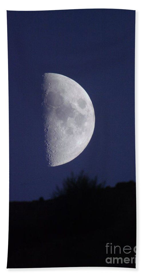 Moon Hand Towel featuring the photograph Moon Over The Mountain Side View by Jeff Swan