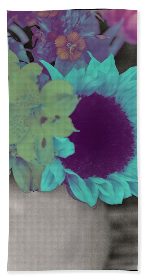 Digitally Hand-colored Bath Sheet featuring the photograph Moonflower by Linda Dunn