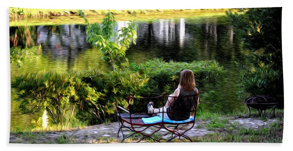 Morning By The Pond Hand Towel featuring the photograph Morning By The Pond by Bill Cannon