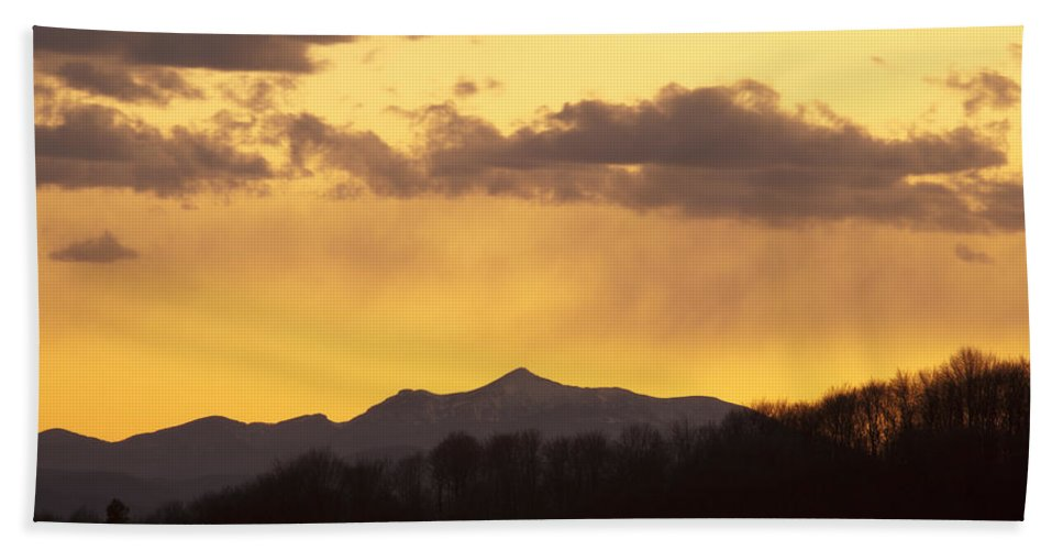 Mountains Bath Sheet featuring the photograph Mountain Sunset by Ian Middleton