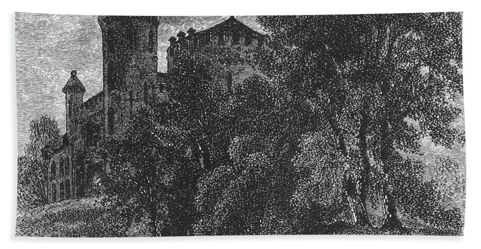 1876 Hand Towel featuring the photograph New York State: Castle by Granger