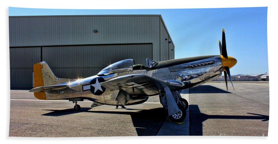 North American P-51d Mustang Bath Sheet featuring the photograph North American P-51 Mustang by Tommy Anderson