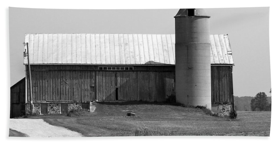 Old Barn And Silo Bath Sheet featuring the photograph Old Barn And Silo by Pamela Walrath
