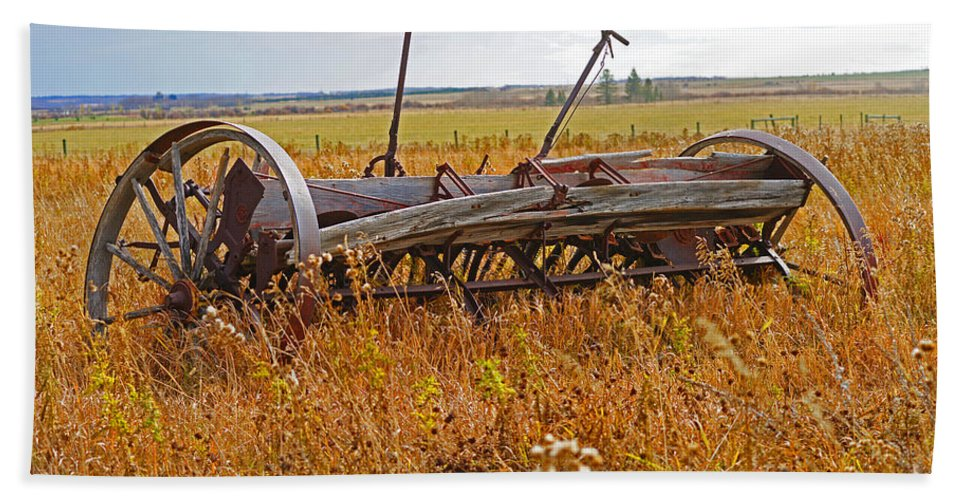Old Equipment Hand Towel featuring the photograph Old Farm Equipment by Randy Harris