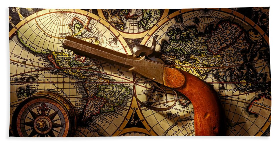 Old Gun Bath Sheet featuring the photograph Old Gun On Old Map by Garry Gay