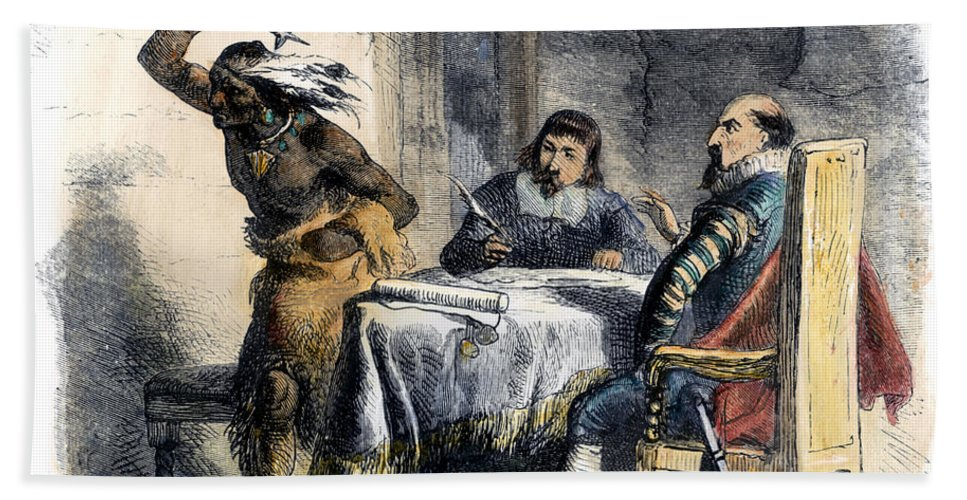 1620 Hand Towel featuring the photograph Opechancanough by Granger