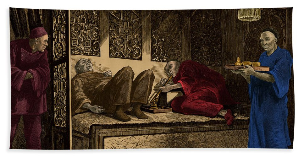 Science Hand Towel featuring the photograph Opium Den by Photo Researchers