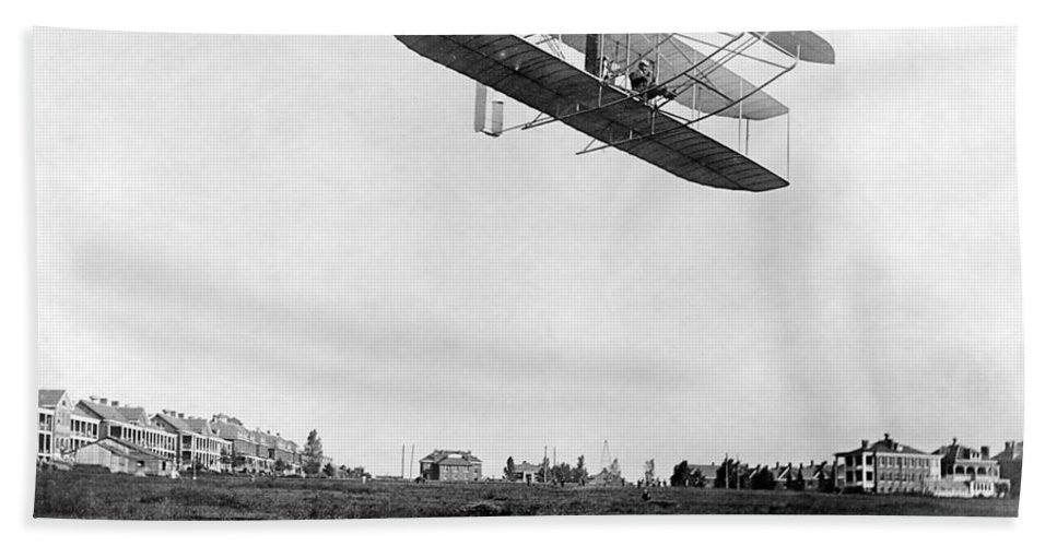 Historical Hand Towel featuring the photograph Orville Wright In Wright Flyer, 1908 by Photo Researchers