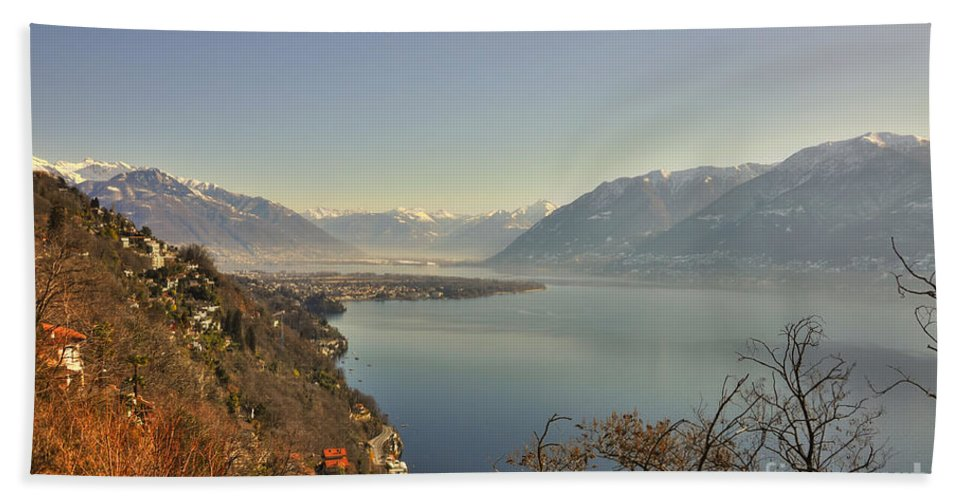 Panoramic View Hand Towel featuring the photograph Panoramic View Over A Lake by Mats Silvan