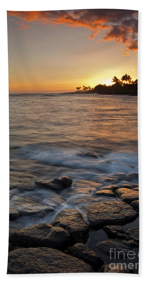 Seascape Hand Towel featuring the photograph Paradise Sunset by Mike Dawson