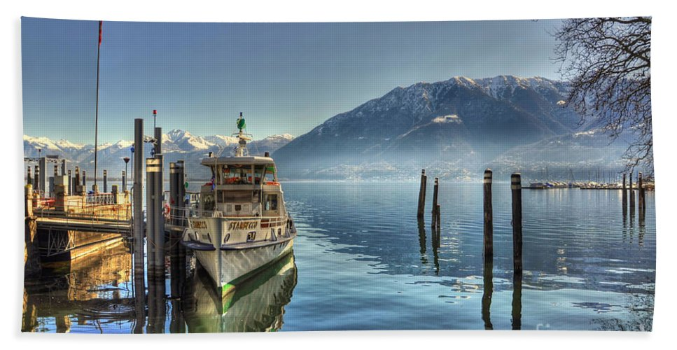 Ship Hand Towel featuring the photograph Passenger Ship On An Alpine Lake by Mats Silvan