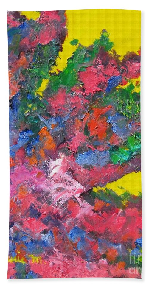 Abstracts Bath Sheet featuring the painting Reaching For The Sun by Laurie Morgan