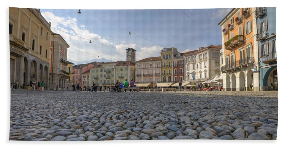 Piazza Grande Hand Towel featuring the photograph Piazza Grande - Locarno by Joana Kruse