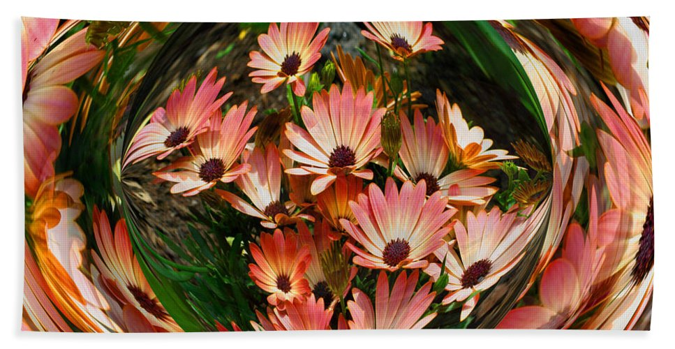 Abstract Bath Sheet featuring the photograph Pink African Daisies by Smilin Eyes Treasures