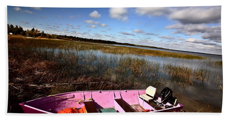 Life Jacket Bath Sheet featuring the photograph Pink Boat In Scenic Saskatchewan by Mark Duffy