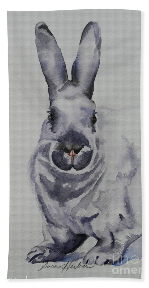 Rabbit Hand Towel featuring the painting Platinum by Susan Herber