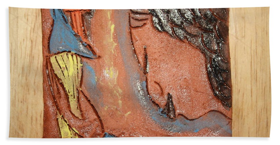 Jesus Hand Towel featuring the ceramic art Prayer 26 - Tile by Gloria Ssali
