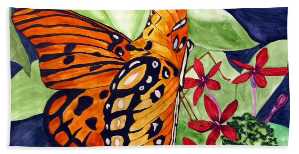 Butterfly Bath Sheet featuring the painting Precocious Butterfly by Debi Singer