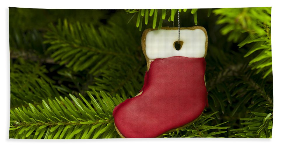 Advent Bath Sheet featuring the photograph Present Sock Shape Short Bread Cookie In Christmas Tree by U Schade