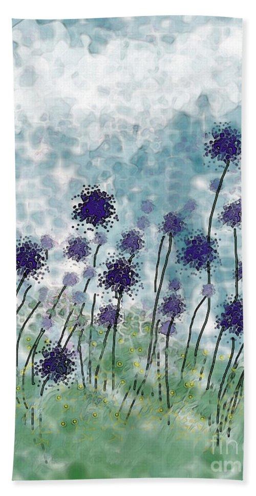 Nature Bath Sheet featuring the digital art Purple Puffs by Debbie Portwood