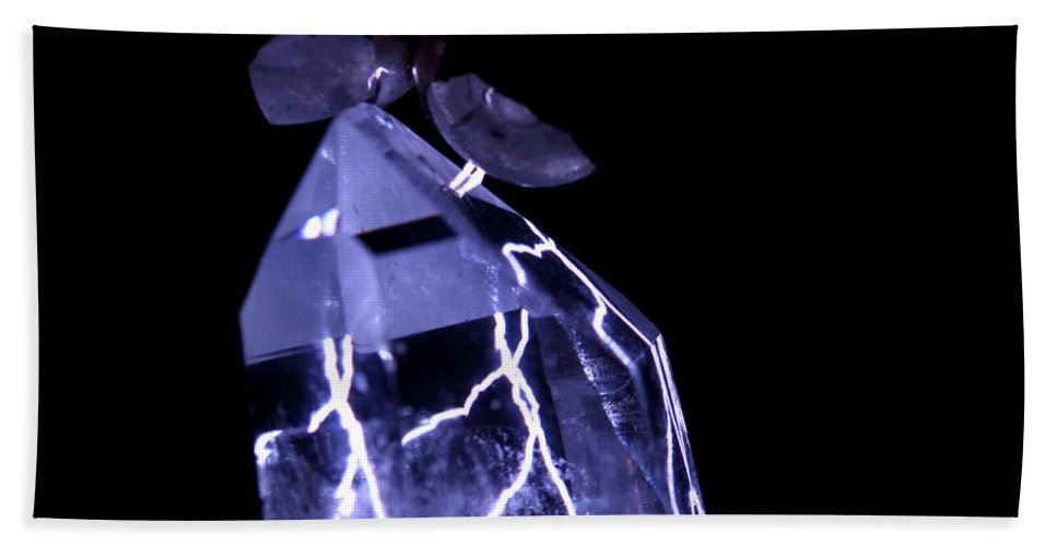 Electrical Hand Towel featuring the photograph Quartz Crystal & Sparks by Ted Kinsman