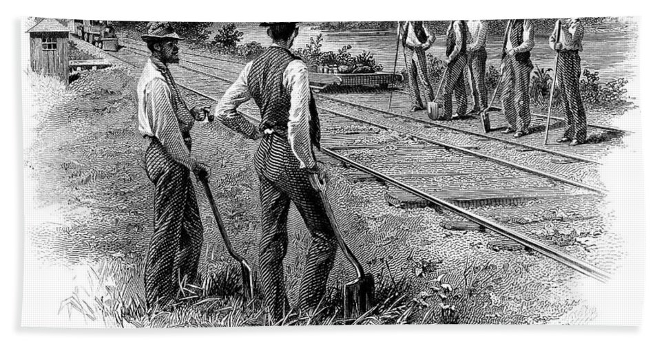 1870 Hand Towel featuring the photograph Railroad Construction by Granger